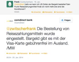 Comdirect tweet Reisezahlungsmittel